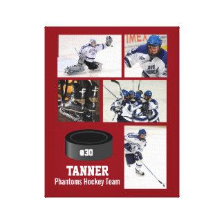 Custom Hockey Photo Collage Team Name Your Text Canvas Print