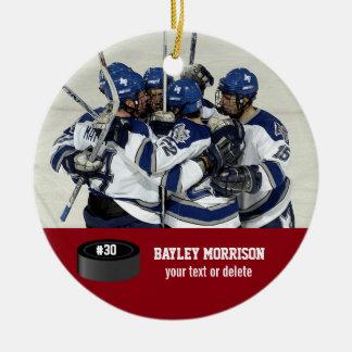 Custom Hockey Photo Player Name, Team & Number Round Ceramic Decoration