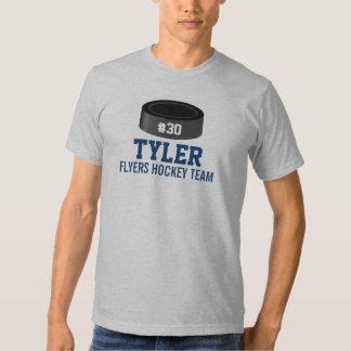 Custom Hockey Player Number Team Name Tee Shirt