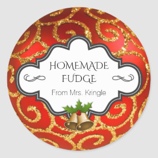Custom Holiday Baking Red Gold Glitter Holly Bells Classic Round Sticker