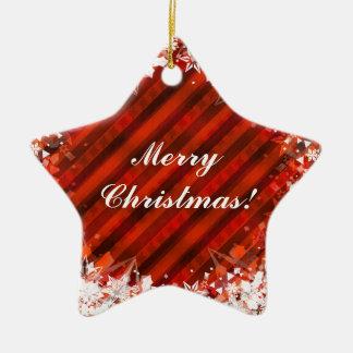 Custom Holiday Christmas Ornament -Red w/Snowflake
