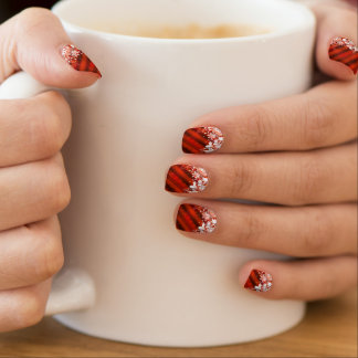Custom Holiday / Christmas Red Snowflake Nail Art