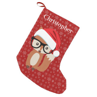Custom Holiday Fox Glasses Cute Animal Christmas Small Christmas Stocking