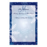 Custom Holiday Greetings Family Letter Snowflakes Customised Stationery