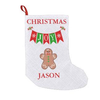 Custom Holiday Joy Ginger Bread Christmas Stocking Small Christmas Stocking