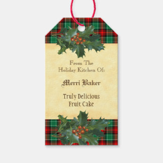 Custom Holiday Kitchen Holly Red Green Plaid Tag