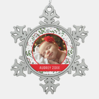 Custom Holiday Photo | Mistletoe Pattern Snowflake Pewter Christmas Ornament