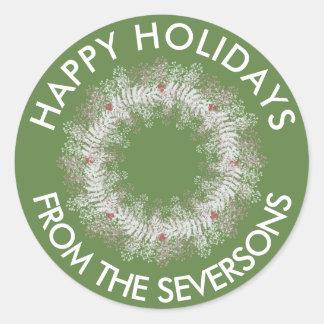 Custom Holiday Wreath Sticker