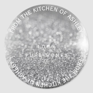 Custom Homemade Honey Gray Silver Glitter Glass Round Sticker