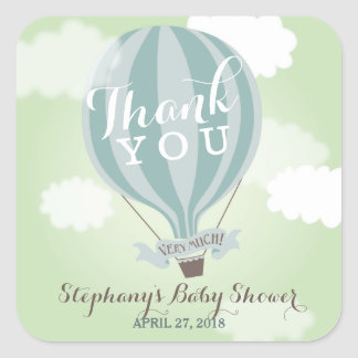 Custom Hot Air Blue Balloon Thank You Stickers