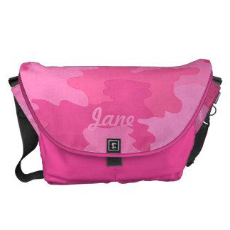 Custom Hot Pink Camouflage Large Messenger Bag