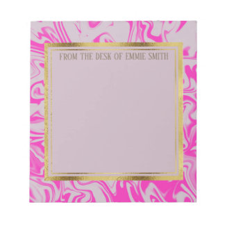 Custom Hot Pink Marble and Gold Notepad