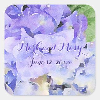 Custom Hydrangea Wedding Blue Lilac Square Sticker