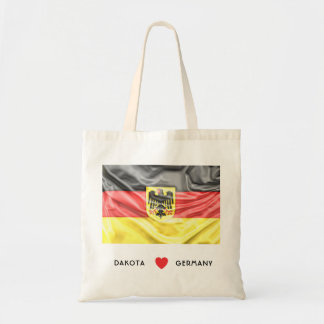 Custom I Heart Flag of Germany with Coat of Arms Tote Bag
