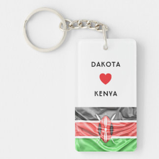 Custom I Heart Flag of Kenya Key Ring