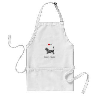 Custom I Love My Basset Hound Dog Standard Apron