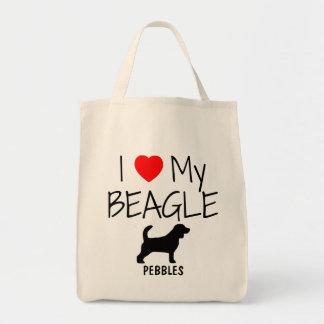 Custom I Love My Beagle Tote Bag