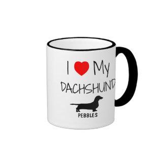 Custom I Love My Dachshund Ringer Mug
