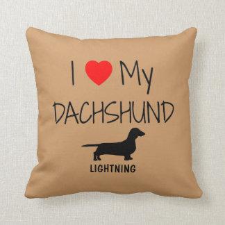 Custom I Love My Dachshund Throw Pillow