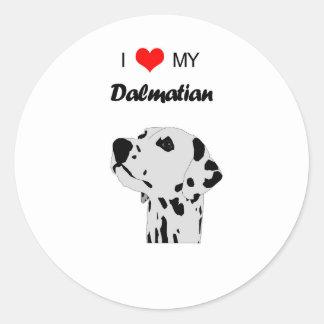 Custom I Love My Dalmatian Dog Heart Round Sticker