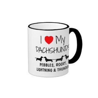 Custom I Love My Four Dachshunds Mug