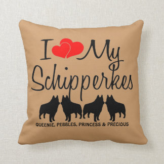 Custom I Love My Four Schipperkes Throw Pillow