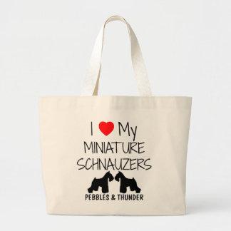 Custom I Love My Miniature Schnauzers Jumbo Tote Bag