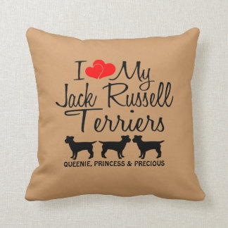 Custom I Love My Three Jack Russell Terriers Throw Pillow