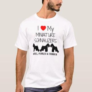 Custom I Love My Three Miniature Schnauzers T-Shirt