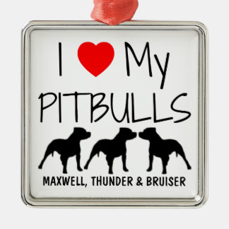 Custom I Love My Three Pitbulls Metal Ornament