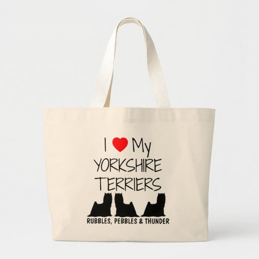 Custom I Love My Three Yorkshire Terriers Tote Bags