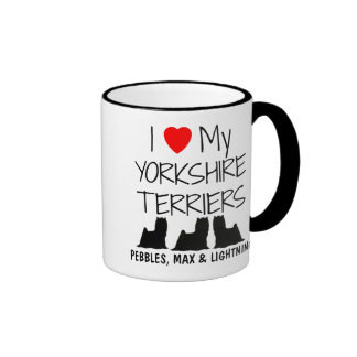 Custom I Love My Three Yorkshire Terriers Ringer Mug