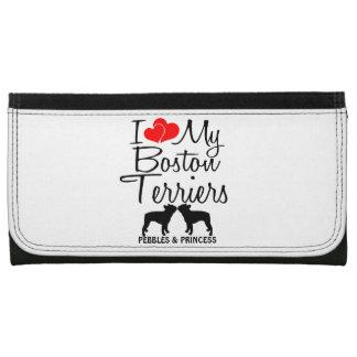 Custom I Love My Two Boston Terriers Women's Wallet