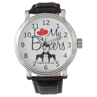 Custom I Love My Two Boxers Watch