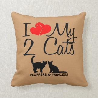 Custom I Love My Two Cats Cushion