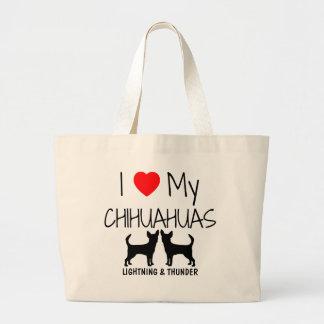 Custom I Love My Two Chihuahuas Jumbo Tote Bag