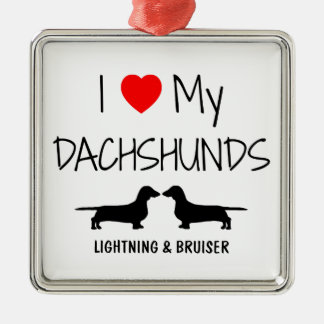 Custom I Love My Two Dachshunds Silver-Colored Square Decoration