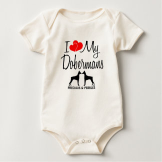 Custom I Love My Two Dobermans Baby Bodysuit