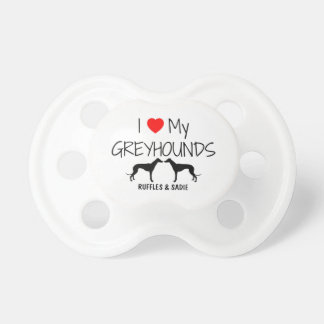 Custom I Love My Two Greyhounds Baby Pacifiers