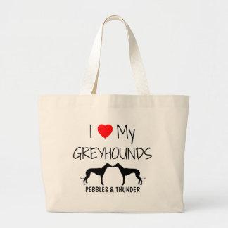 Custom I Love My Two Greyhounds Jumbo Tote Bag