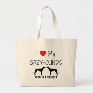 Custom I Love My Two Greyhounds Bag