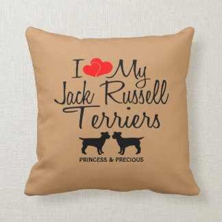 Custom I Love My Two Jack Russell Terriers Throw Pillow