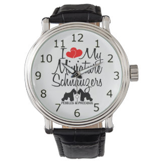 Custom I Love My Two Miniature Schnauzers Watch