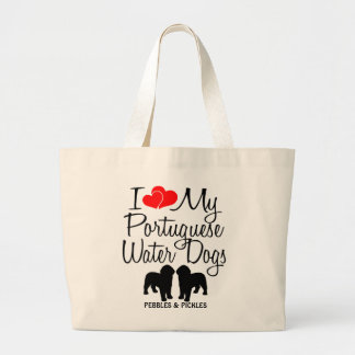Custom I Love My Two Portuguese Water Dogs Bag