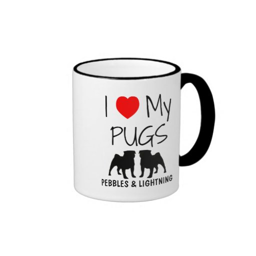Custom I Love My Two Pugs Mugs