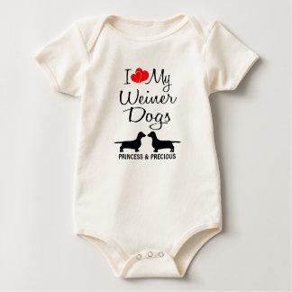 Custom I Love My Two Weiner Dogs Baby Bodysuit