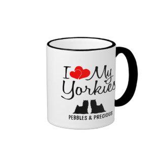 Custom I Love My Two Yorkies Mugs