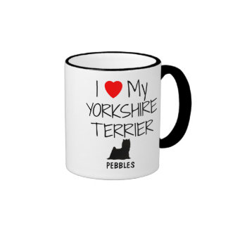 Custom I Love My Yorkshire Terrier Ringer Mug