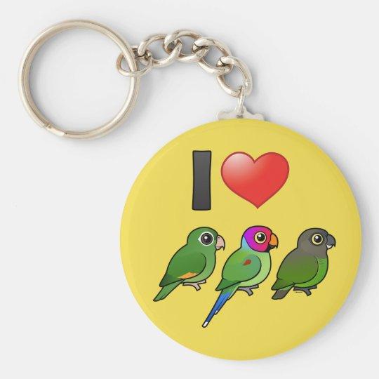 Custom I Love Parrots Keychain