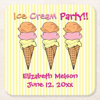 Custom Ice Cream Party Striped Square Paper Coaster